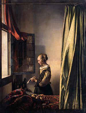 4. Ян Вермеєр Делфтський. Дівчина, яка читає листа біля прочиненого вікна. 1657—1659 рр. Дрезденська картинна галерея